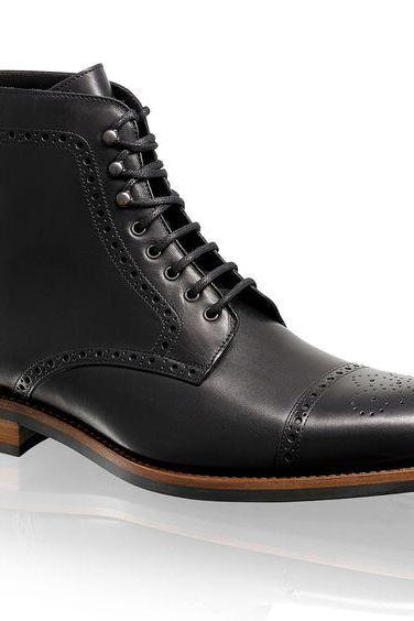Oxford Ankle Boot Black Color Semi Brogue Cap Toe Lace UP Closer Men Leather Shoe