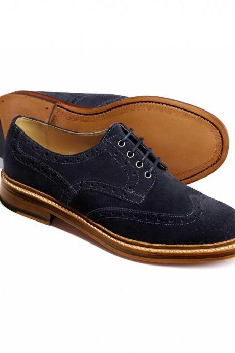 Oxford Style Blue Color Wing Tip Brogue Suede Leather Lace Up Closer Men Leather Shoe