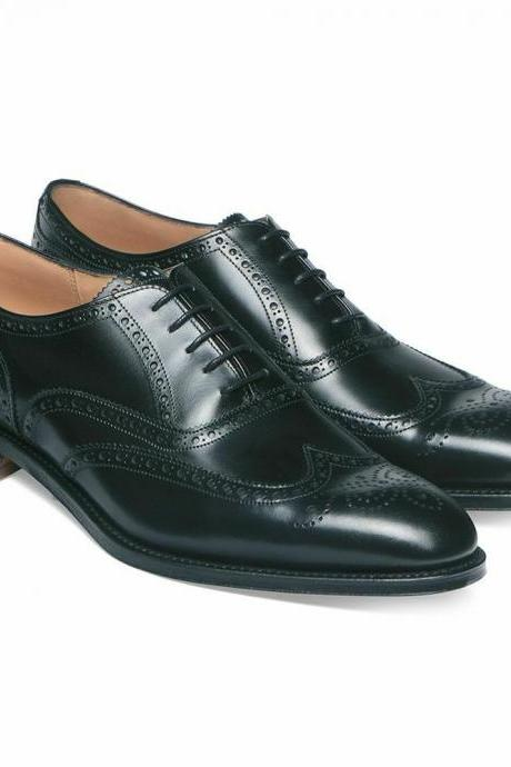 Oxford Style Black Color Brogue Wing Tip Lace Up Closer Men Leather Shoes