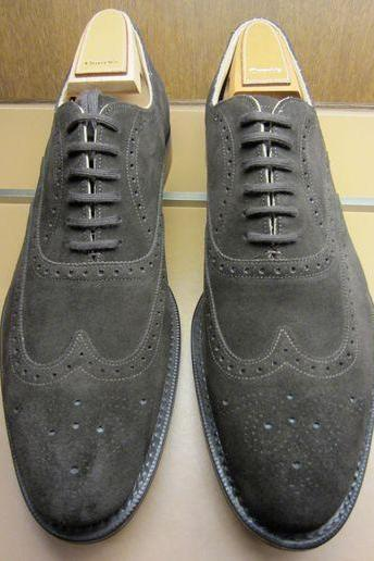 Oxford Style Gray Color Suede Leather Brogue Wing Tip Lace Up Closer Men Leather Shoes