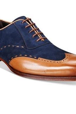 Oxford Style Tan & Navy Blue Color Upper Suede Leather Wing Tip Lace Up Closer Men Leather Shoes