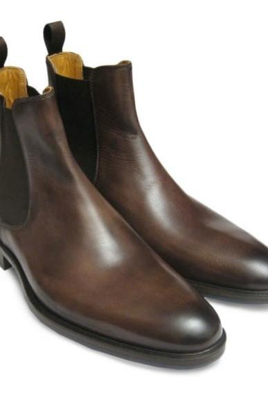 Ankle Chelsea Style Chocolate Brown Color Side Elastic Back Pull Men Leather Shoe