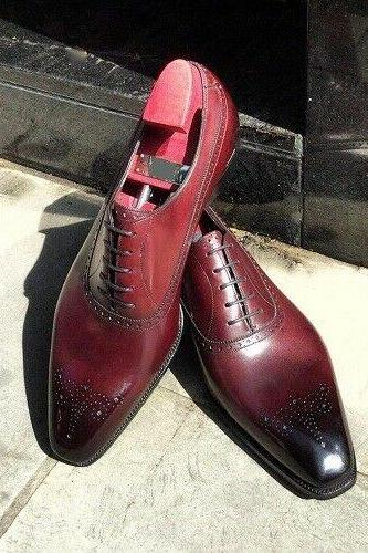 Oxford Style Burgundy Color Square Toe Brogue Lace Closer Men Leather Shoes