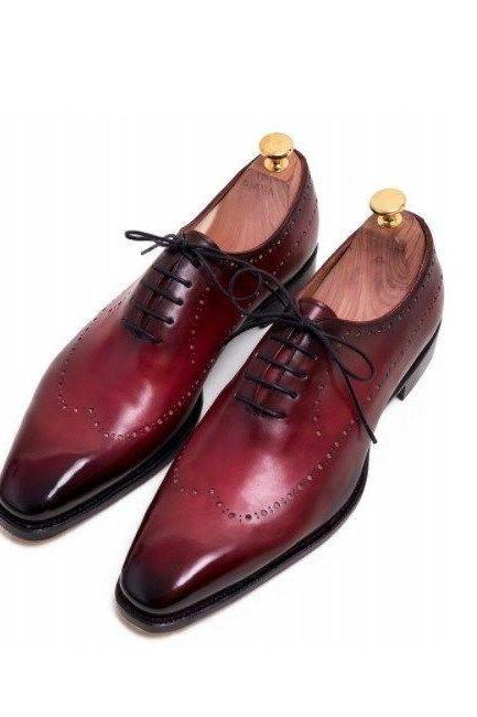 Oxford Style Burgundy Color Patina Square Toe Wing Tip Lace Closer Men Leather Shoes