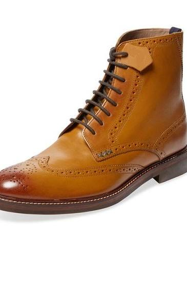 Ankle Tan Color Brogue Wing Tip Marching Boot Lace Up Men Leather Shoe