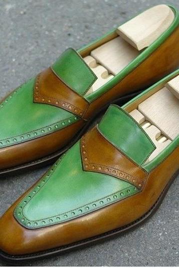 Loafer Style Brown & Green Color Slip On Men Leather Shoes