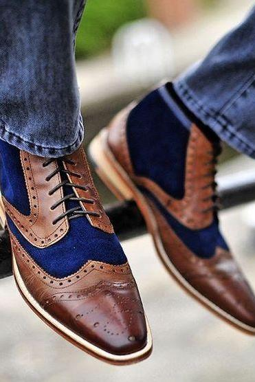Ankle Brown & Blue Color Brogue Double Wing Tip Lace Up Men Leather Shoe