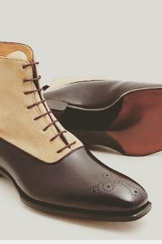Ankle Dark Brown Color Beige Suede Leather Lace Up Men Leather Shoe