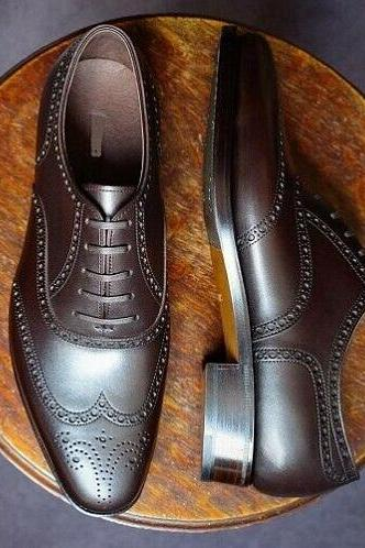 Oxford Style Dark Brown Color Brogue Wing Tip Lace Up Men Leather Shoes