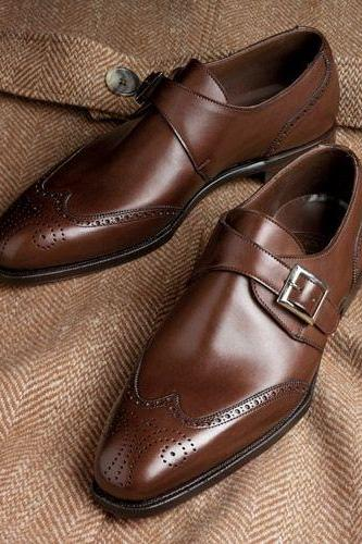 Monk Style Dark Brown Color Brogue Wing Tip Buckle Closer Men Leather Shoes