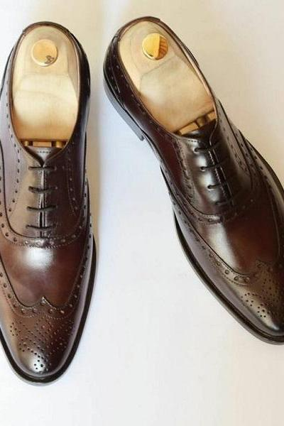 Oxford Style Dark Brown Color Brogue Wing Lace Up Men Leather Shoes