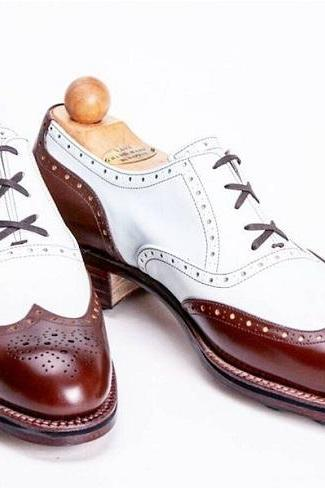 Oxford Style Brown & White Color Brogue Wing Tip Lace Up Men Leather Shoes