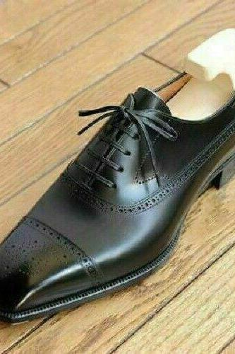 Handmade Oxford Style Black Color Brogue Cap Toe Lace Up Men Leather Shoes