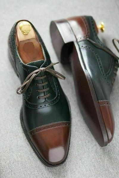 Handmade Oxford Style Two Tone Color Cap Toe Lace Up Men Leather Shoes