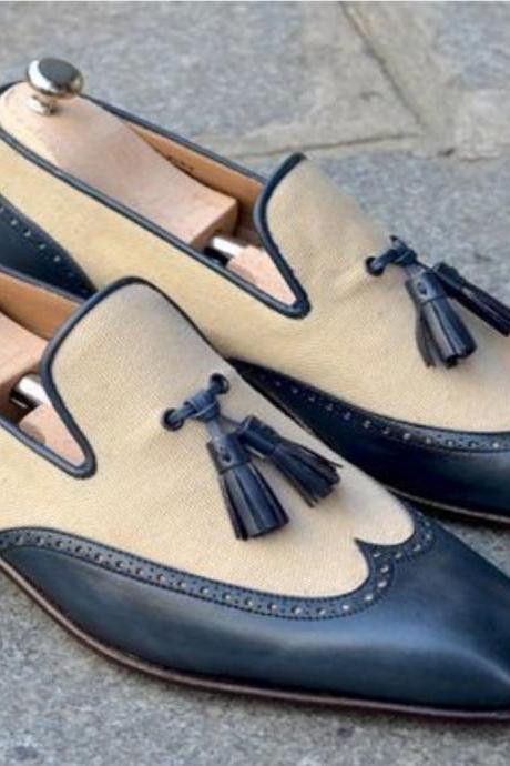 Handmade Men Blue Beige Occasional Tassel Loafer Shoe