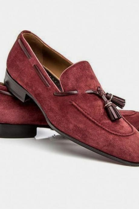 Handmade Men Burgundy Tassels Suede Loafer Casual Dressing Shoe