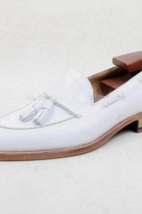 New Year Best Gift White Leather Tassels Moccasin Shoes For Men Handmade