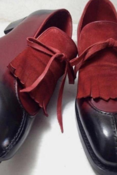 New Handmade Men New Burgundy Black Fringes Split Toe Shoe