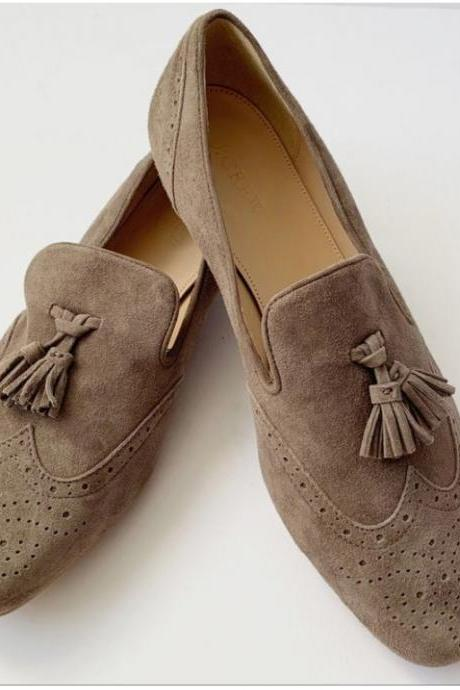Handmade Best Selling Beige Tassels Wing Tip Brogue Loafer Shoe