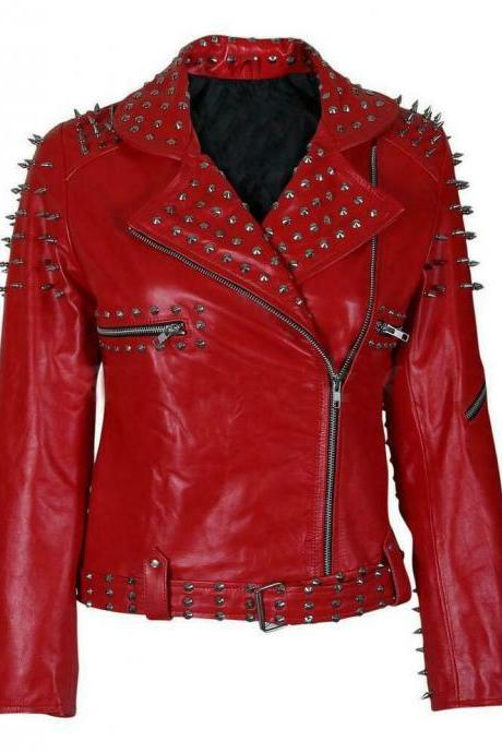 New Handmade Women Red Fashion Studded Punk Style Leather Jacket