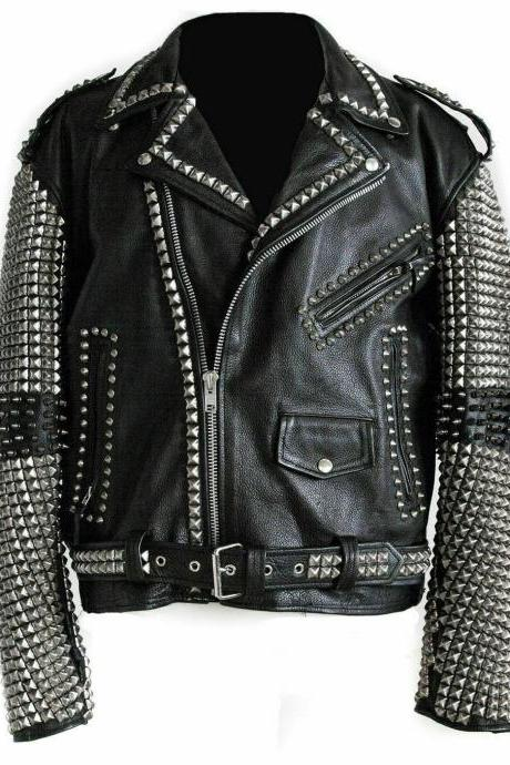 New Handmade Celebrity Black Color Women's Silver Studded Leather Jacket