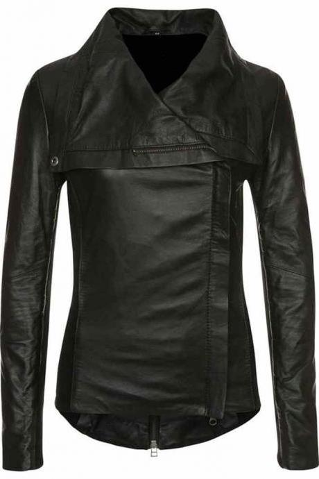 Women Black Leather Jacket, Wide Collar Fashion Leather