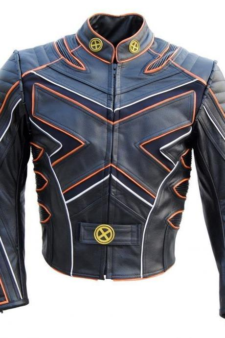 Customized Handmade Men's X-Men Black & Orange Fashion Wolverine Leather Jacket