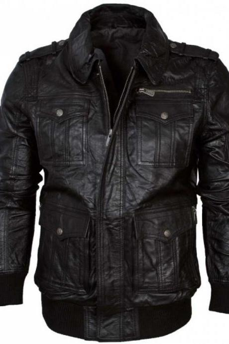 Handmade Black Jacket, Men Simple Leather Bomber Jacket, Men Motorcycle Jacket