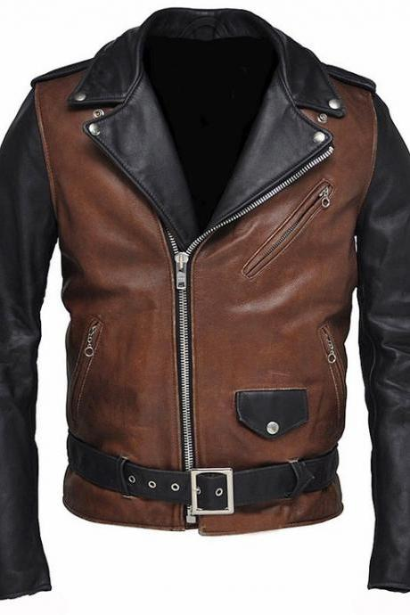 Handmade New Men Biker Leather Jacket, Men's Brown Black Color Leather Jacket