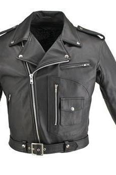 Men Black Brando Belte Biker Motorcycle Authentic Cow Skin Leather Jacket