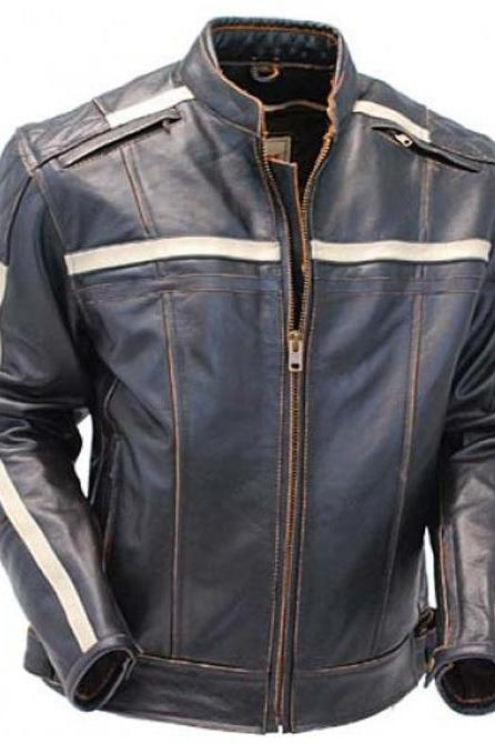 Men Black Military White Stripes Motorcycle Biker Real Genuine Leather Jacket