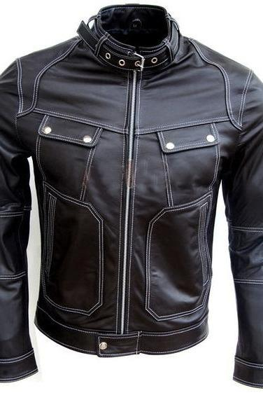 MEN LEATHER JACKET, BIKER LEATHER JACKET BELTED COLLAR
