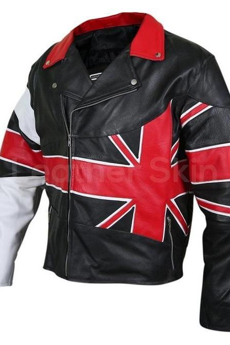 Men Handmade UK Union Flag Brando Genuine Leather Jacket