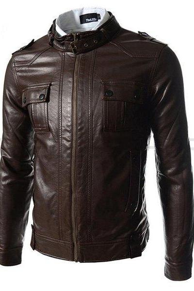 MEN SLIM FIT LEATHER JACKET, BROWN BELTED COLLAR LEATHER JACKETS, MEN'S JACKETS