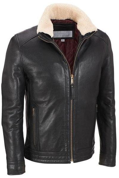 Men Black Leather jacket, Men Fleece Collar Leather Jacket