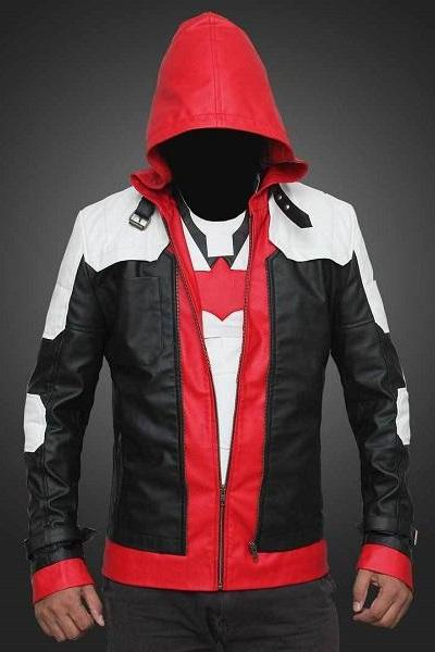 Men Red & White & Black Hood Leather Biker Jacket Double Zipper