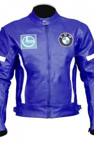 NEW BLUE SPORT BIKE LEATHER JACKET WITH WHITE STRIP FOR MEN