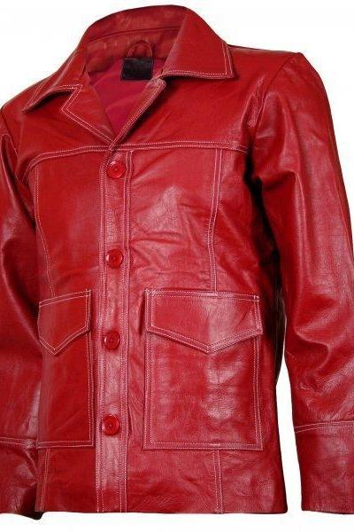 New Handmade Coat For Men Red Color Button Style Leather Coat