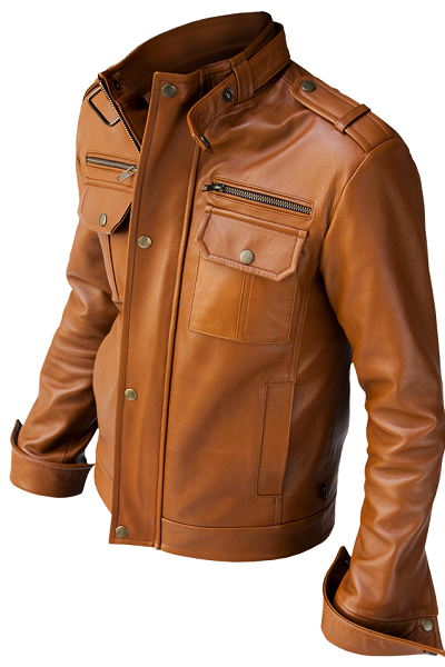NEW HANDMADE MEN TAN COLOR BIKER LEATHER JACKET