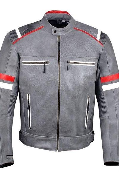 New Handmade Men Gray Color Lambskin Biker Leather Jacket