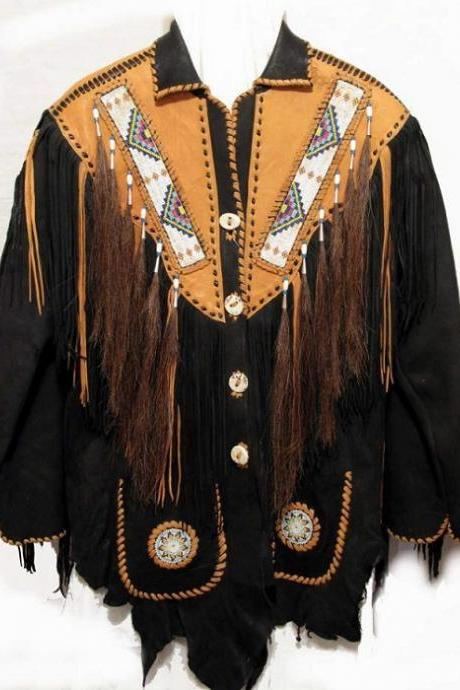 Men Black Western Cowboy Style Leather Jacket Fringe Bone Beads Jackets