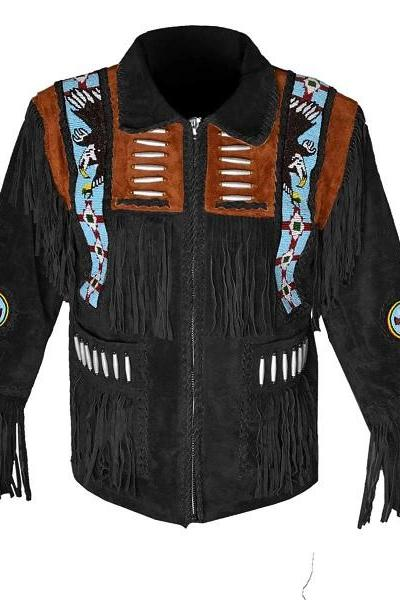 New Western Cowboy With Eagle Sings Black & Brown Color Suede Leather Fringe Men Jackets