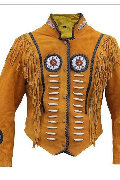 New Western Cowboy Leather Carnival Fashioning Jacket Biker Mustered Color
