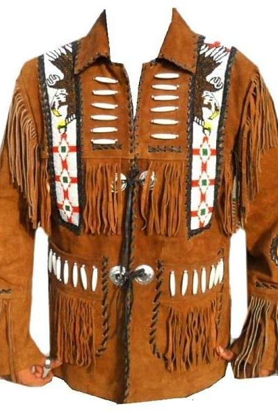 Eagle Beads Western Cowboy Suede Leather Jacket for Men With Fringes