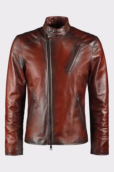 IRON MAN STYLE MEN BROWN GENUINE LEATHER JACKET