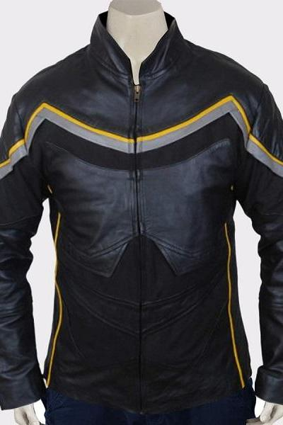 MEN SUPERHERO BLACK STRIP BIKER LEATHER JACKET
