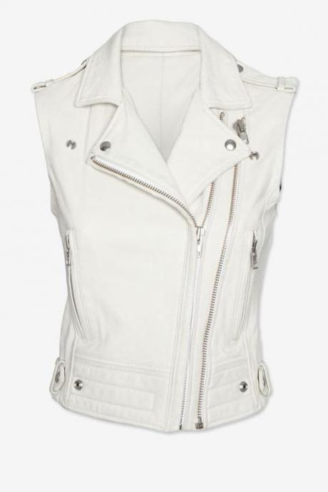 Men Leather Vest Coat White Color Best Fit for Biker