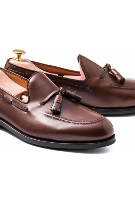 Loafer Style Brown Color Tassel Pointed Toe Slip On Men Leather Shoes
