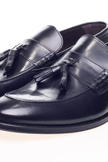 Loafer Style black Color Tassel Slip On Men Leather Shoes