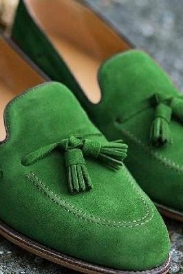Handmade Green Suede Tassels Loafer Slips On Best Formal Occasion Shoes